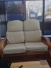 2seater sofa and 2 chairs cane furniture comfortable thick cushions in good condition