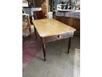 Antique Victorian Rustic Pine Kitchen Table with Cutlery Drawer
