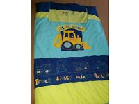 Next single boys bedding with digger curtains
