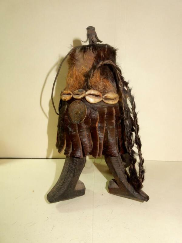Vintage African Deity Or Ceremonial Container For Oils?  Leather, Shells & Fur
