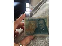 AA28 rare, new five pound note