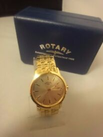 men's rotary gold plated wrist watch with case nbr uc364 in mint condition