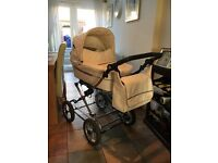 baby style pram with push chair attachment. Matching car seat and changing bag.