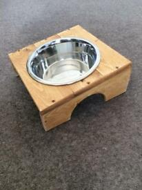 Elevated Dog Food/Water Bowl - Hand Made Stand With Insert For Bowl (included)