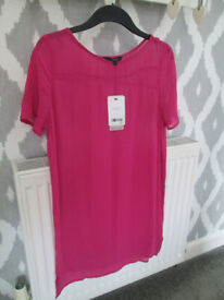 BNWT - LADIES CERISE PINK DRESS/TOP (SHEER) - SIZE 8 - NEXT / OTHER BR