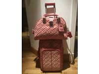 Guess pink logo small trolley suitcase and cabin bag luggage carry-on set