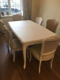 PROVENCALE IVORY LAURA ASHLEY EXTENDING DINING TABLE AND SIX CHAIRS