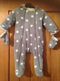 M&S Grey Star Snowsuit with mittens age 3-6 months