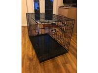 Large black metal dog crate / cage