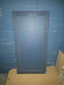 long mirror in blue wood frame