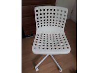 White Office Swivel Desk Chair - Adjustable