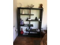 REDUCED - Dining Table & 8 Chairs and matching Bookcase, Black Hardwood, Quality handmade Furniture