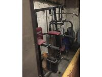 V fit multi gym, squat and bench press rack, benches and a big choice of free weights and bars