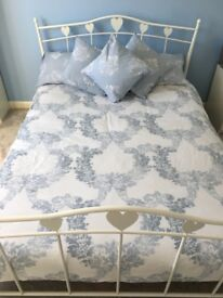 NEXT white metal heart double bed