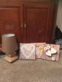 Small lamp and 3x canvas pictures