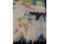 12 baby grows and sleepsuits + snowsuit neutral newborn to 3 months (0-3) bundle