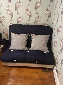 2 seater navy futon sofa