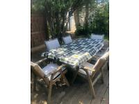 Garden Table & 6 chairs (solid teak) includes cushions and tablecloth