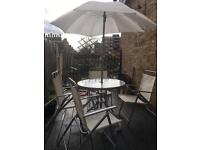 Outdoor table + 4chairs + parasol