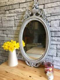 Vintage French Upcycled oval carved Mirror