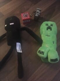 Small enderman and creeper plush plus minecraft key ring