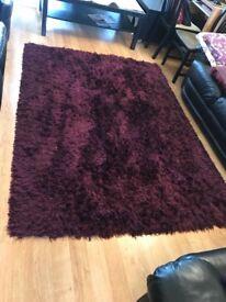 Large purple plum aubergine mauve living room rug 130 x 230cm