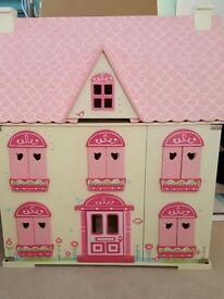 Elc rosebud dolls house wooden dolls house VGC