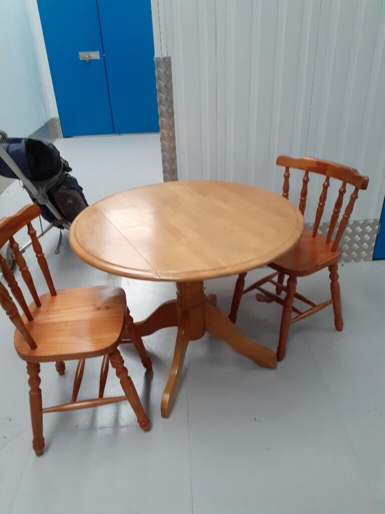 Small Folding Kitchen Table And Two Pine Chairs