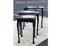 Mahogany Nest of Tables (glass top) (@07752751518)