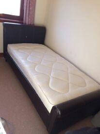 Dark brown faux leather single bed