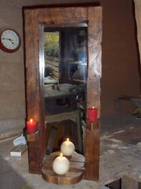 Lovely new rustic mirror with candle shelf