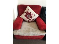 Two nice red and cream colour sofas armchair