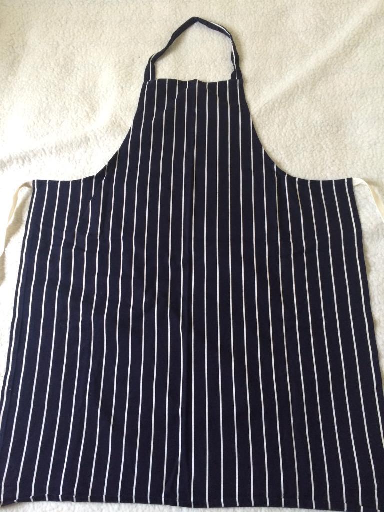 White apron edinburgh - Blue White Stripe Butchers Apron