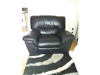 black leather sofa and recliner chair new condition