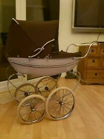 Kids vintage silver cross coach built hard bodied dolls pram