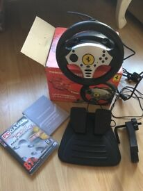 Race Driver 3 game and steering wheel controller, pedals.