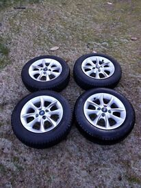 Ford Ka winter tyres on alloy wheels.