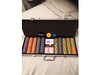 Poker Set Chips Monte Carlo Cards Gambling New Never Openes