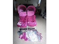 Cosatto sugar and spice double buggy pushchair with footmuffs and rain cover