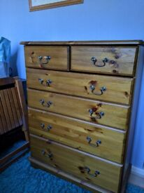 Durham Pine drawers, dressing table and bedside tables