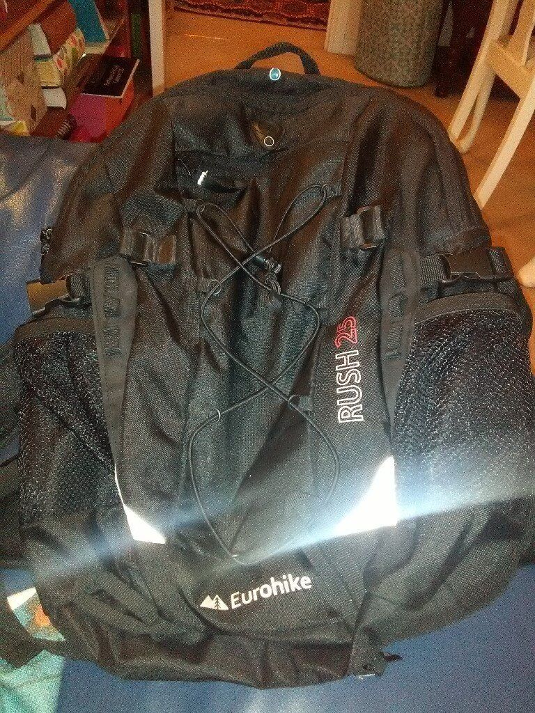 black Eurohike rucksack 25 litres with raincover