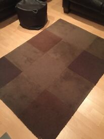 100% Lambswool Rug and Faux Leather Foot Stool for sale £50
