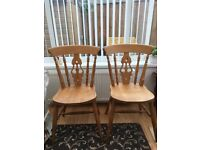 Set of 6 solid oak fiddle back chairs, excellent condition, no knocks, or marks. Will sell in pairs.