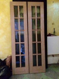 "Pair of quality Glazed doors. Light oak. 18"" W X 79"" L each door"