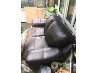 FOR SALE good condition 2 seater pvc leather brown sofa