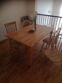 dining table for 6 and chairs available to pick up from the 1st of November.