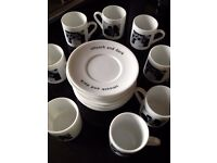 8 x Whittard Espresso Coffee Cups and Saucers