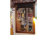 VINTAGE RUSTIC COUNTRY HOUSE LARGE WOODEN ENGRAVED BEVELLED MANTLE WALL MIRROR