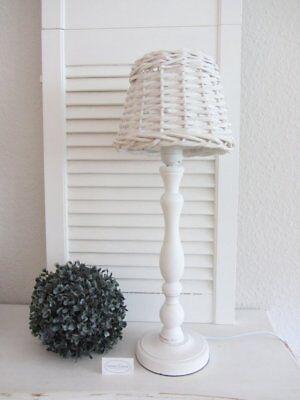 Chic Shabby Stil Weiß Holz (Tisch-Lampe antik weiß Holz Rattan Weide Landhausstil Shabby Chic Vintage gr)