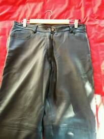 Black leather trousers smooth grain leather